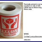 Red Fragile labels