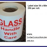 Glass Handle with Care Labels